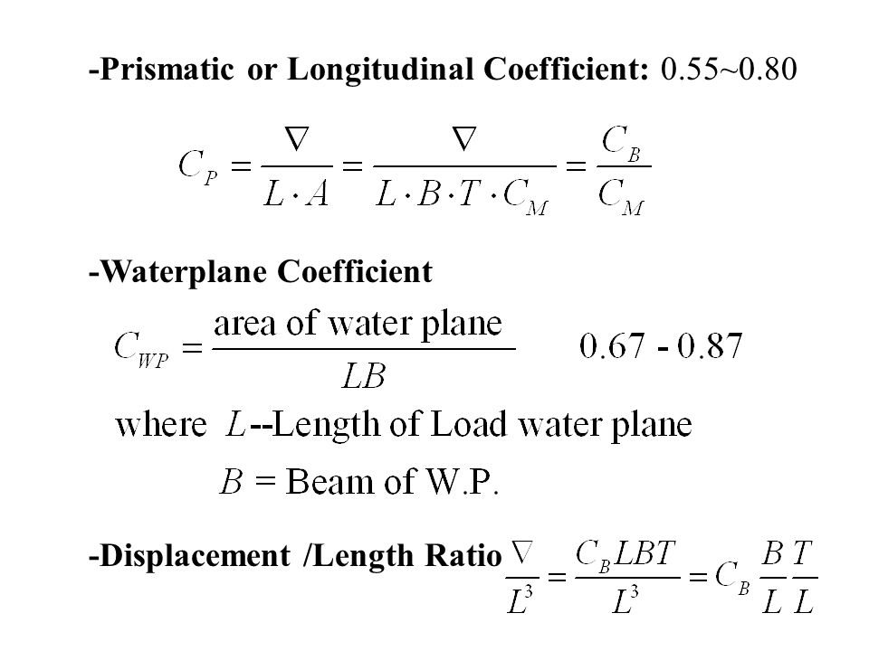 -Prismatic or Longitudinal Coefficient: 0.55~0.80 -Waterplane Coefficient -Displacement /Length Ratio