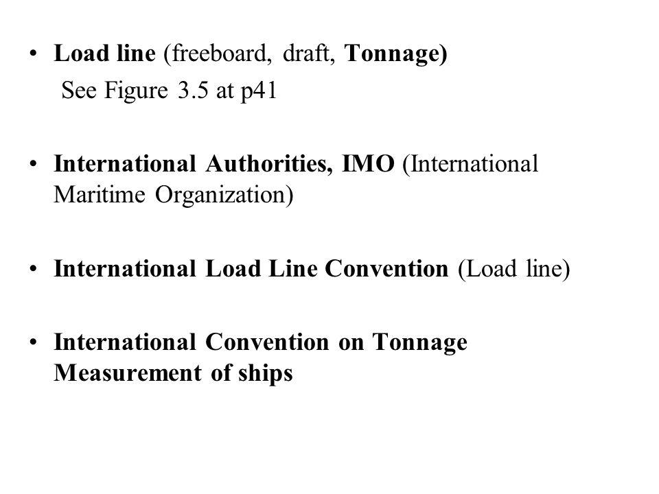 Load line (freeboard, draft, Tonnage) See Figure 3.5 at p41 International Authorities, IMO (International Maritime Organization) International Load Li