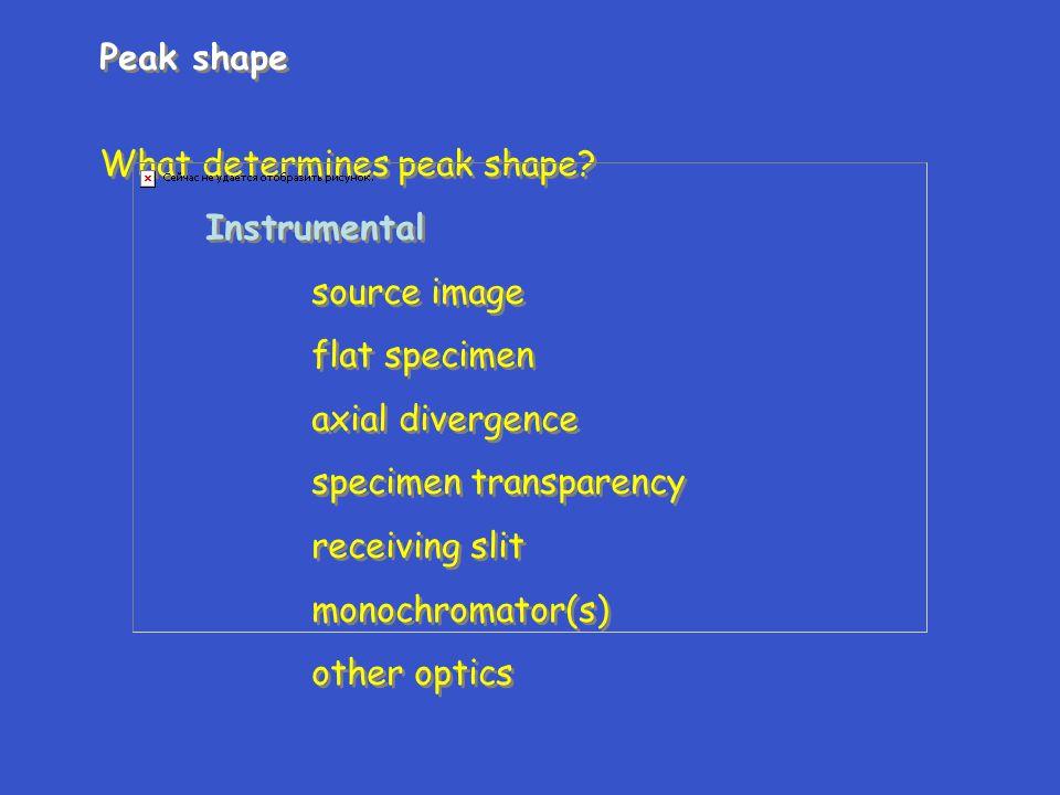 Peak shape What determines peak shape? Instrumental source image flat specimen axial divergence specimen transparency receiving slit monochromator(s)