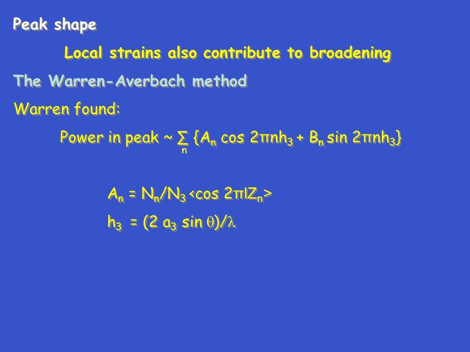 Peak shape Local strains also contribute to broadening The Warren-Averbach method Warren found: Power in peak ~ ∑ {A n cos 2 π nh 3 + B n sin 2 π nh 3