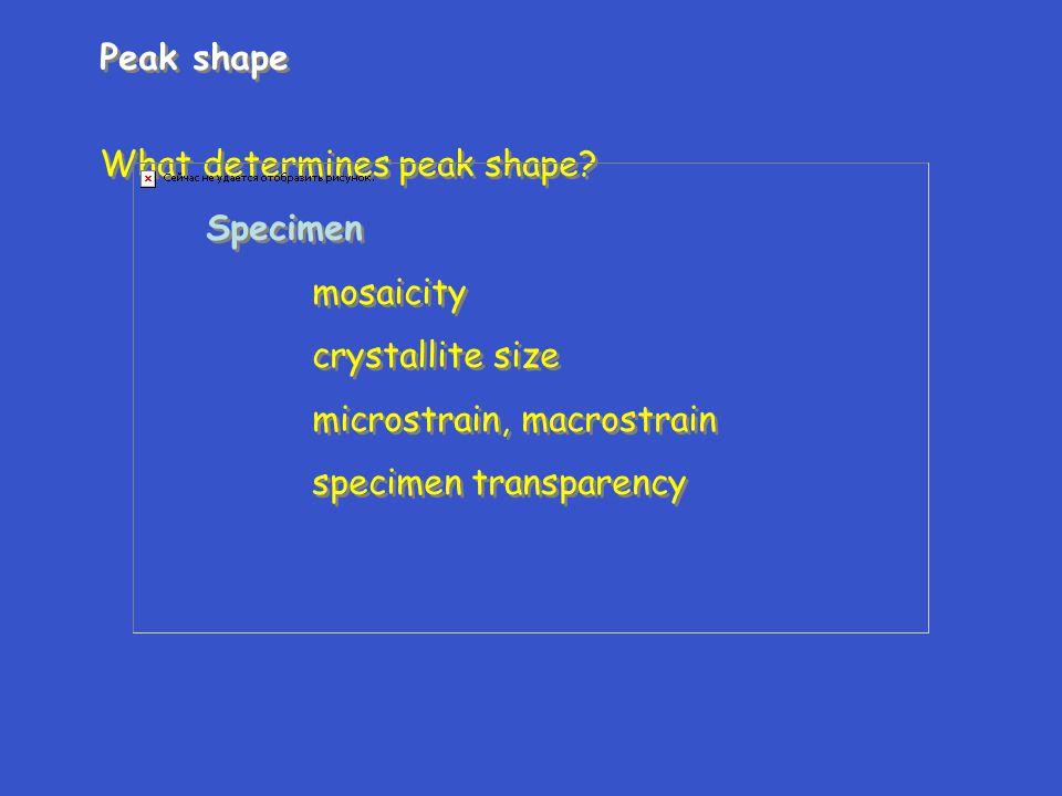 Peak shape What determines peak shape? Specimen mosaicity crystallite size microstrain, macrostrain specimen transparency Peak shape What determines p