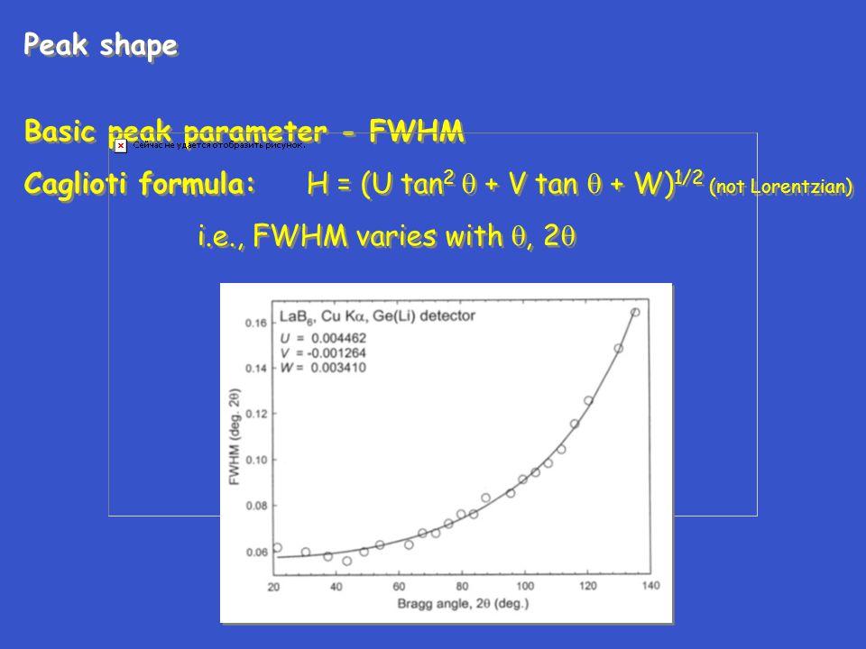 Peak shape Basic peak parameter - FWHM Caglioti formula: H = (U tan 2  + V tan  + W) 1/2 (not Lorentzian) i.e., FWHM varies with , 2  Peak shape B