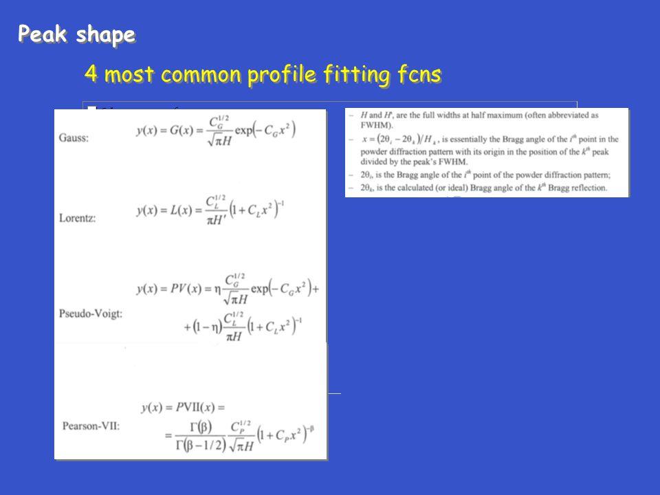 4 most common profile fitting fcns Peak shape 4 most common profile fitting fcns