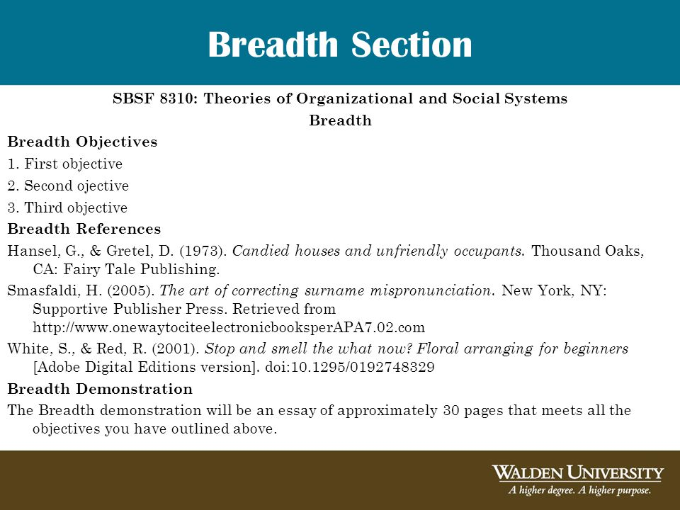 Breadth Section SBSF 8310: Theories of Organizational and Social Systems Breadth Breadth Objectives 1.