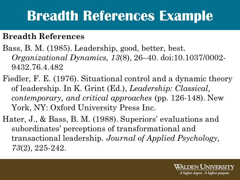 Breadth References Example Breadth References Bass, B.