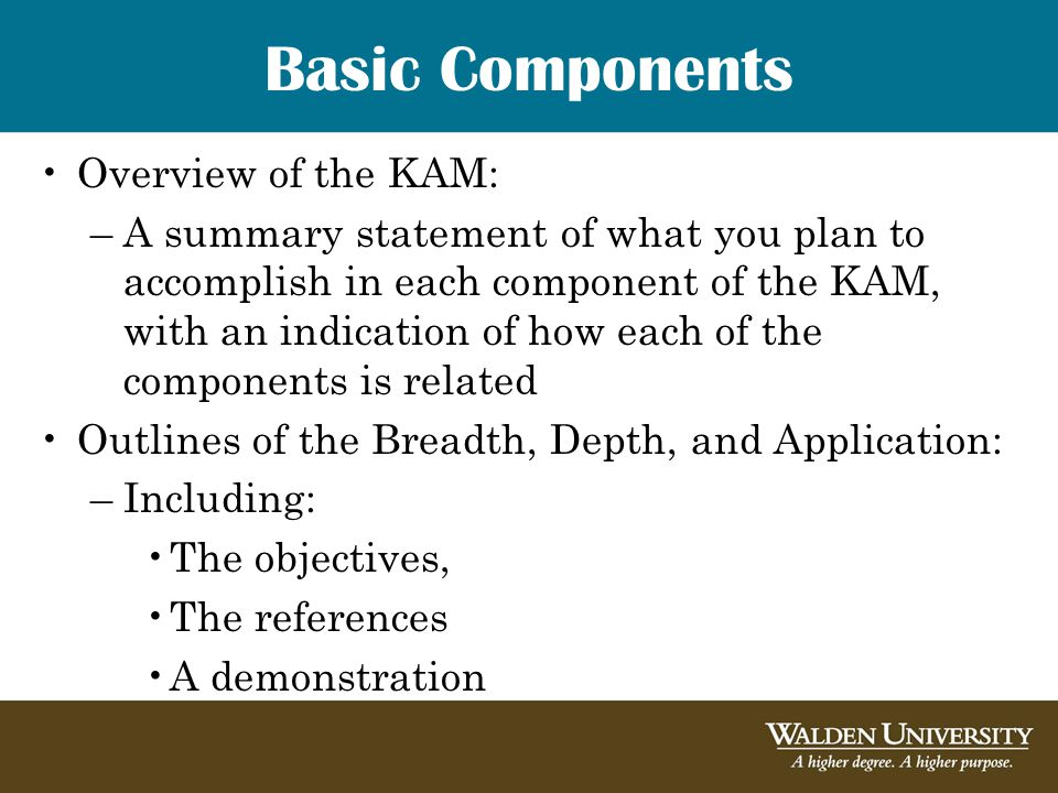 Overview of the KAM: –A summary statement of what you plan to accomplish in each component of the KAM, with an indication of how each of the components is related Outlines of the Breadth, Depth, and Application: –Including: The objectives, The references A demonstration Basic Components