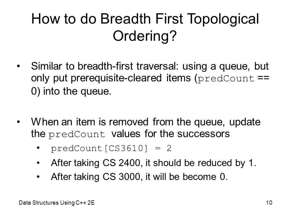 Data Structures Using C++ 2E10 How to do Breadth First Topological Ordering.