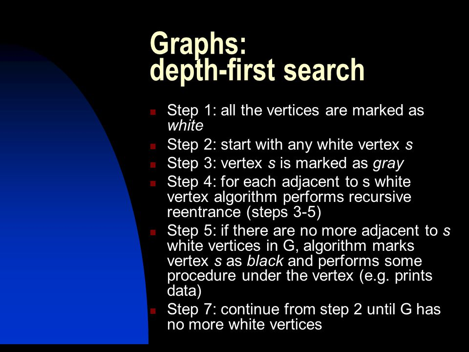 Graphs: depth-first search Step 1: all the vertices are marked as white Step 2: start with any white vertex s Step 3: vertex s is marked as gray Step 4: for each adjacent to s white vertex algorithm performs recursive reentrance (steps 3-5) Step 5: if there are no more adjacent to s white vertices in G, algorithm marks vertex s as black and performs some procedure under the vertex (e.g.