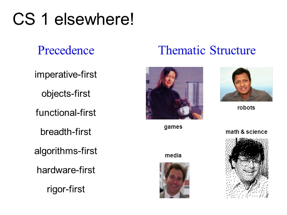 PrecedenceThematic Structure CS 1 elsewhere! breadth-first rigor-first objects-first imperative-first games media robots math & science functional-fir