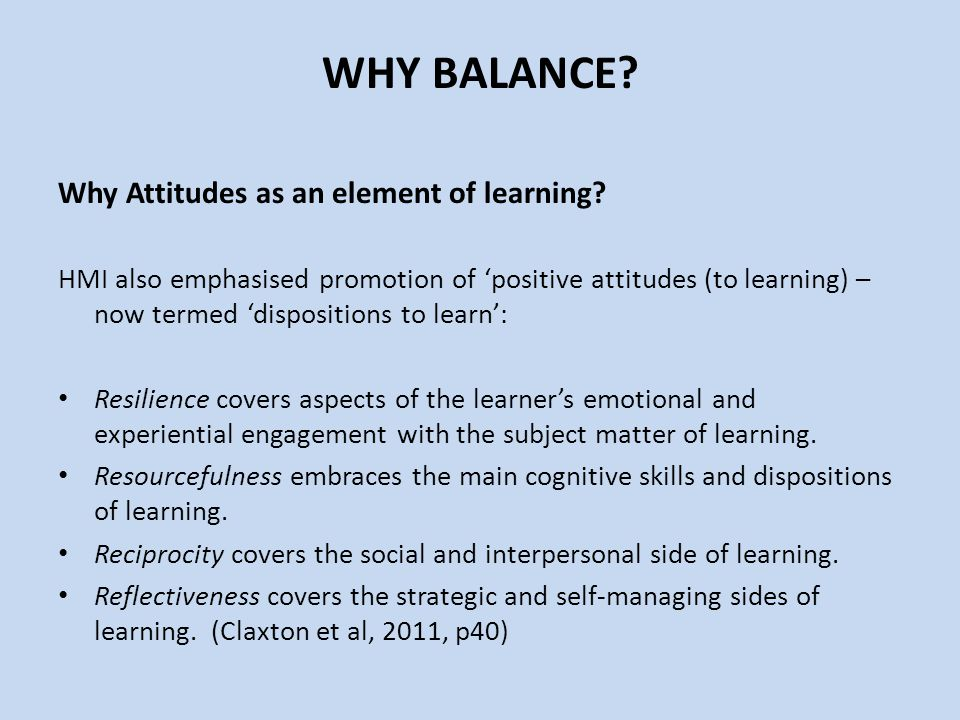 Why Attitudes as an element of learning.
