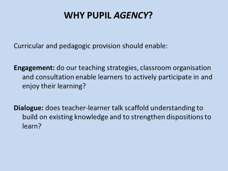 WHY PUPIL AGENCY.