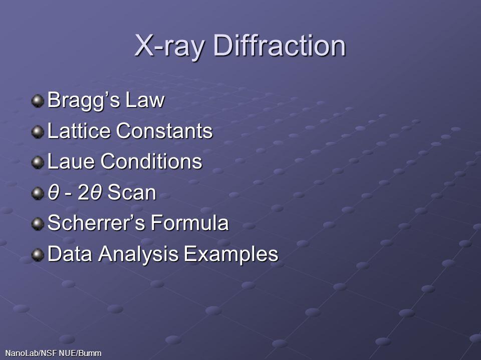 X-ray Diffraction Bragg's Law Lattice Constants Laue Conditions θ - 2θ Scan Scherrer's Formula Data Analysis Examples