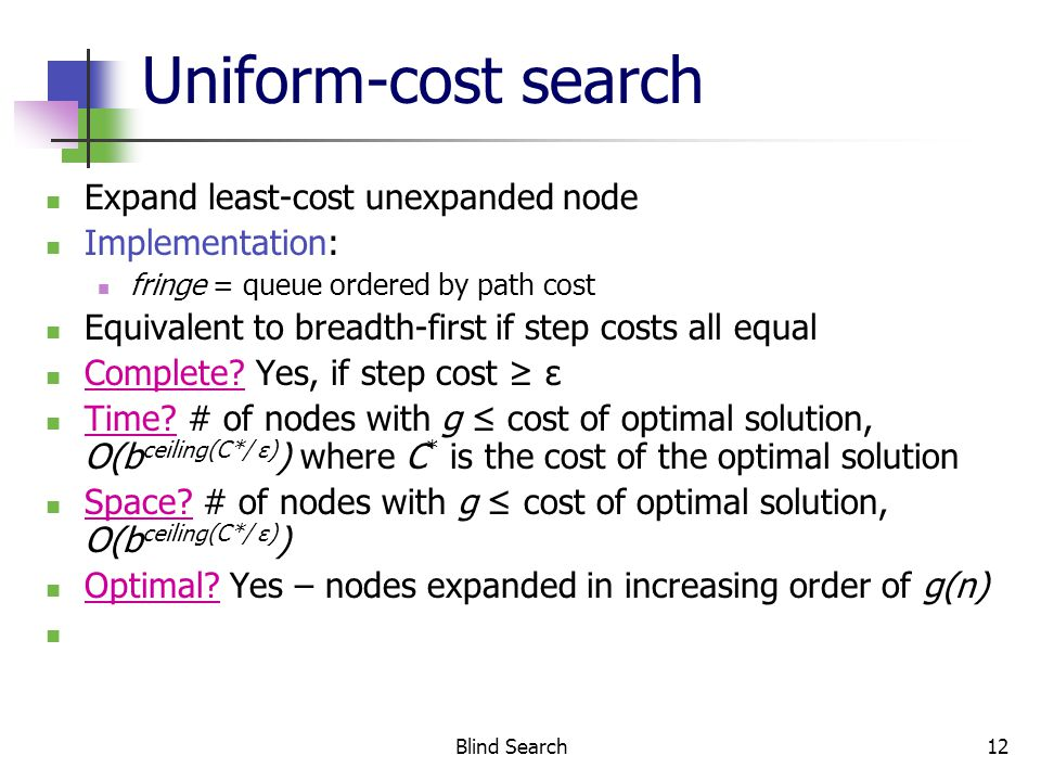 Blind Search12 Uniform-cost search Expand least-cost unexpanded node Implementation: fringe = queue ordered by path cost Equivalent to breadth-first if step costs all equal Complete.