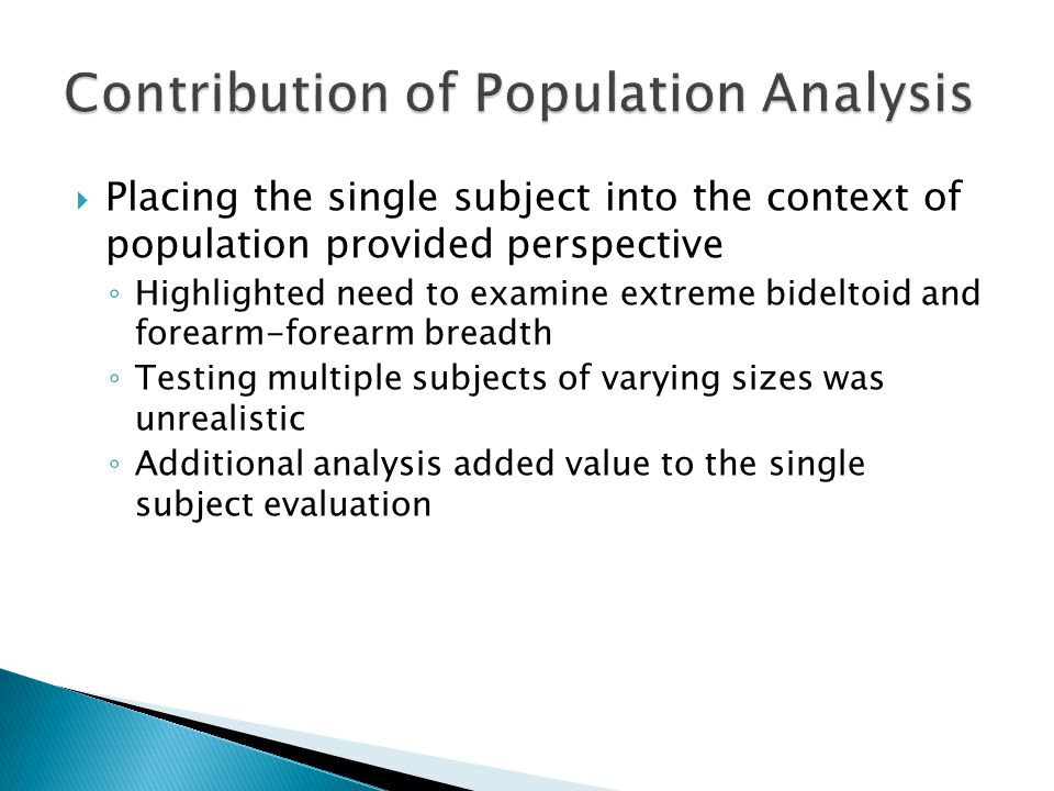  Placing the single subject into the context of population provided perspective ◦ Highlighted need to examine extreme bideltoid and forearm-forearm breadth ◦ Testing multiple subjects of varying sizes was unrealistic ◦ Additional analysis added value to the single subject evaluation