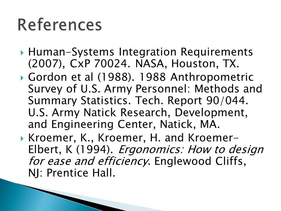  Human-Systems Integration Requirements (2007), CxP 70024.