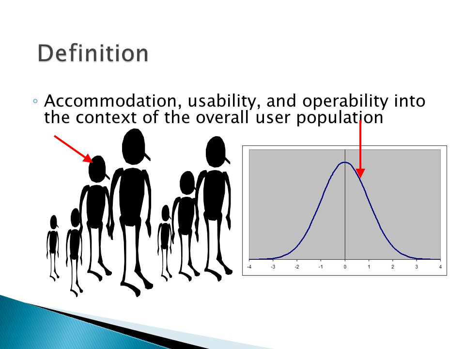 ◦ Accommodation, usability, and operability into the context of the overall user population