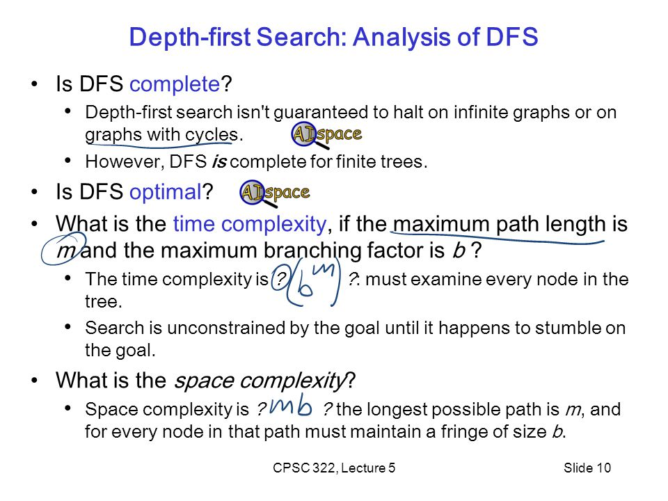 CPSC 322, Lecture 5Slide 10 Depth-first Search: Analysis of DFS Is DFS complete.