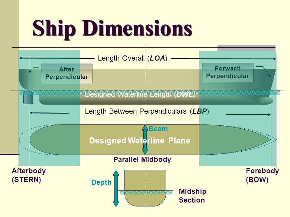 Ship Dimensions Length Overall (LOA) After Perpendicular Forward Perpendicular Designed Waterline Length (DWL) Length Between Perpendiculars (LBP) Aft