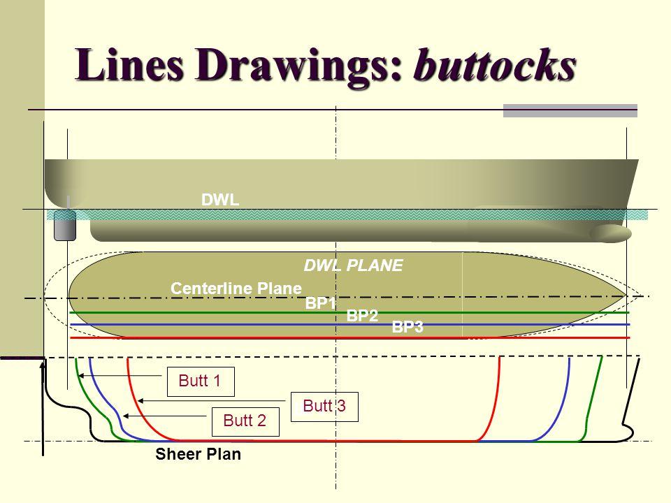 Lines Drawings: buttocks DWL Sheer Plan Centerline Plane BP1 BP3 BP2 BP1 DWL PLANE Butt 1 Butt 2 Butt 3