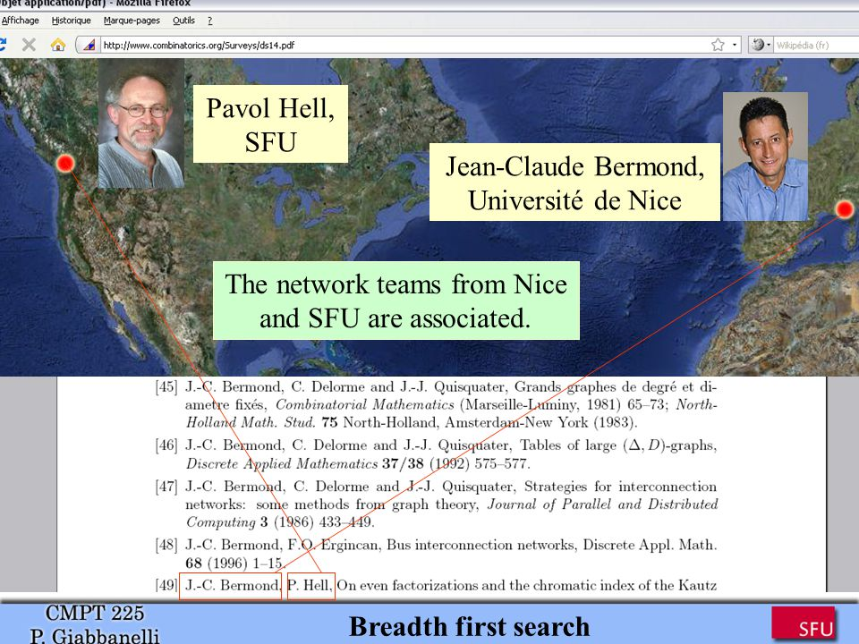 Pavol Hell, SFU Jean-Claude Bermond, Université de Nice The network teams from Nice and SFU are associated.