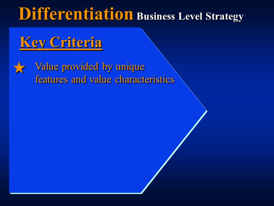 Value provided by unique features and value characteristics Key Criteria Differentiation Business Level Strategy