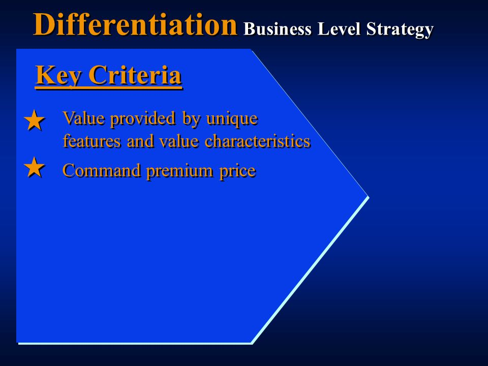 Value provided by unique features and value characteristics Command premium price Key Criteria Differentiation Business Level Strategy
