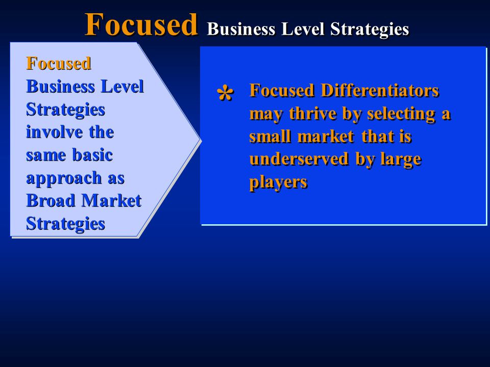 Focused Differentiators may thrive by selecting a small market that is underserved by large players * * Focused Business Level Strategies Focused Business Level Strategies involve the same basic approach as Broad Market Strategies
