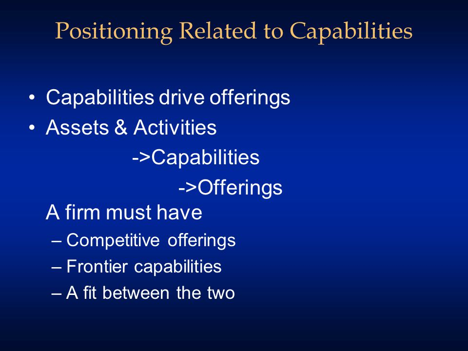 Positioning Related to Capabilities Capabilities drive offerings Assets & Activities ->Capabilities ->Offerings A firm must have –Competitive offerings –Frontier capabilities –A fit between the two