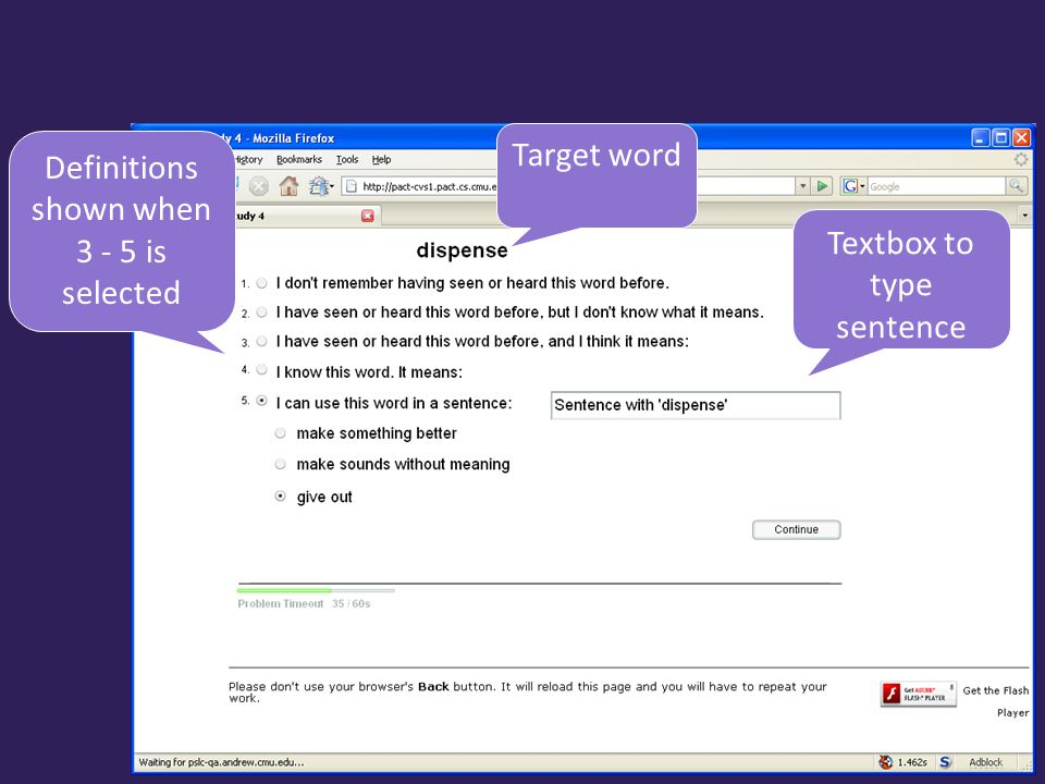 Target word Definitions shown when 3 - 5 is selected Textbox to type sentence