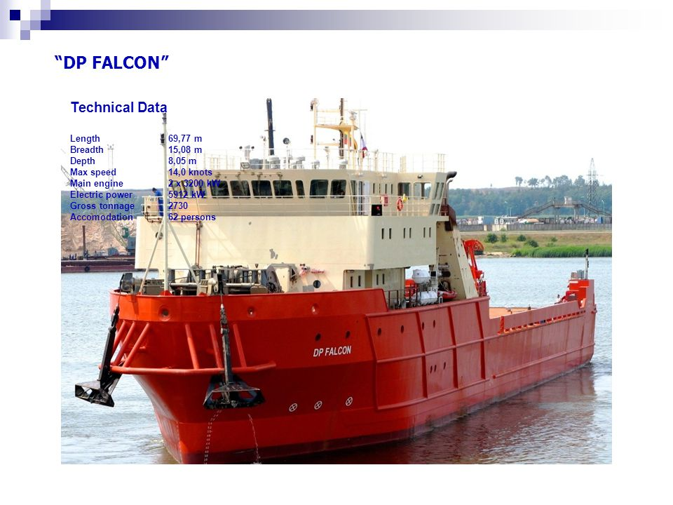 DP FALCON Technical Data Length 69,77 m Breadth 15,08 m Depth 8,05 m Max speed 14,0 knots Main engine 2 x 3200 kW Electric power 5912 kW Gross tonnage 2730 Accomodation 62 persons