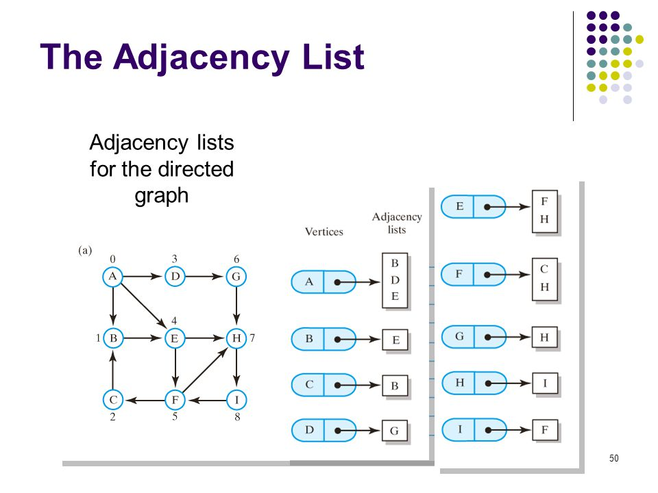 50 The Adjacency List Adjacency lists for the directed graph