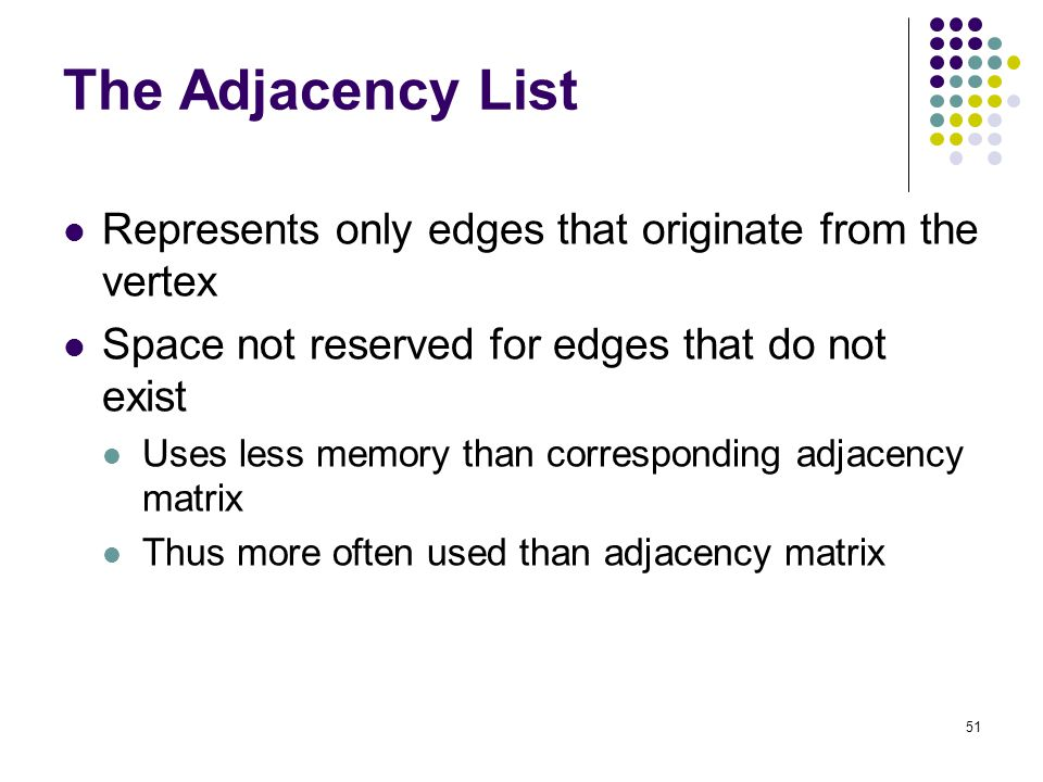 51 The Adjacency List Represents only edges that originate from the vertex Space not reserved for edges that do not exist Uses less memory than corres