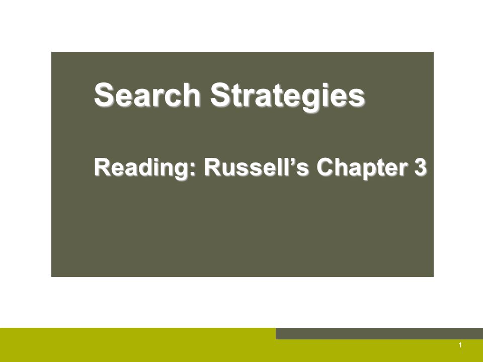 Search Strategies Reading: Russell's Chapter 3 1