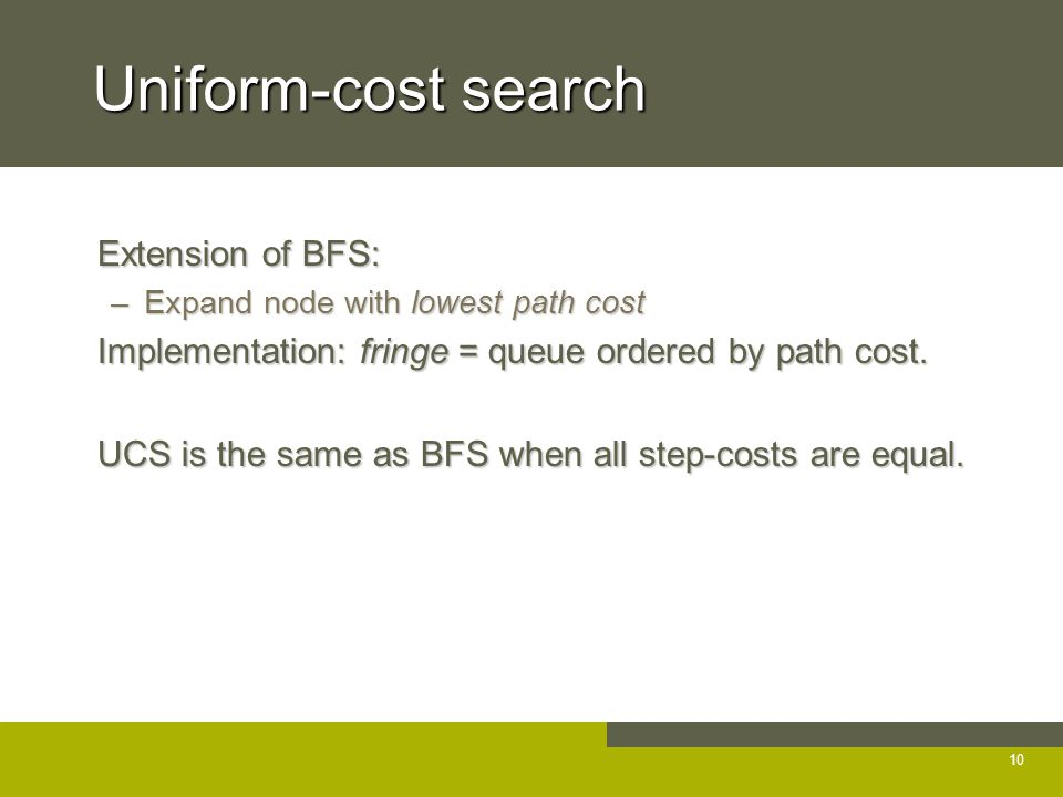 Uniform-cost search Extension of BFS: Extension of BFS: –Expand node with lowest path cost Implementation: fringe = queue ordered by path cost.