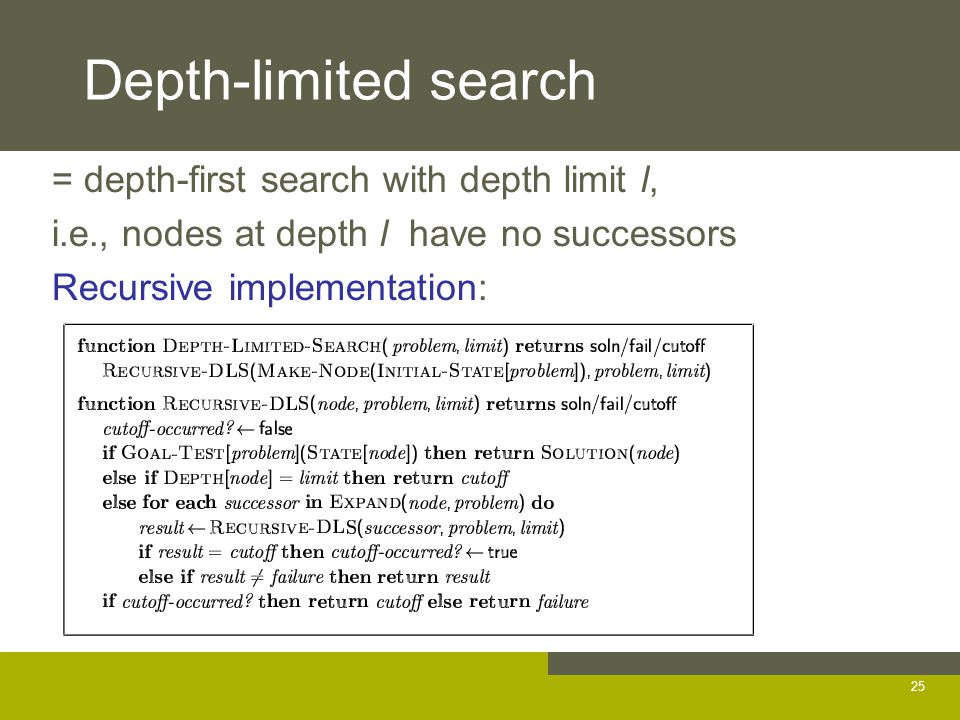 Depth-limited search = depth-first search with depth limit l, i.e., nodes at depth l have no successors Recursive implementation: 25