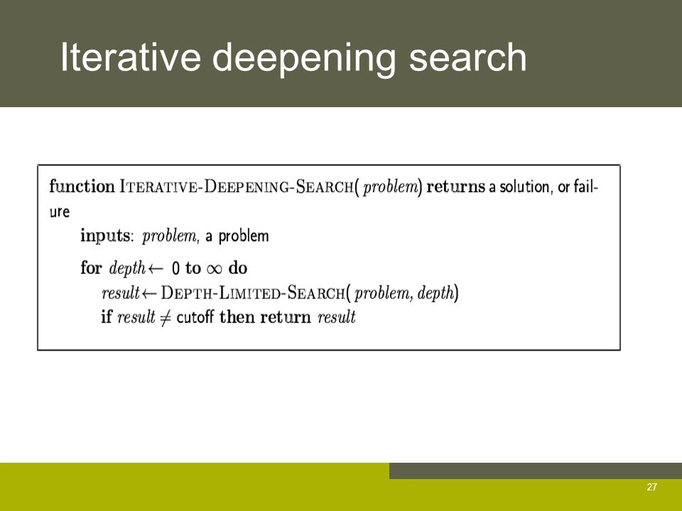 Iterative deepening search 27