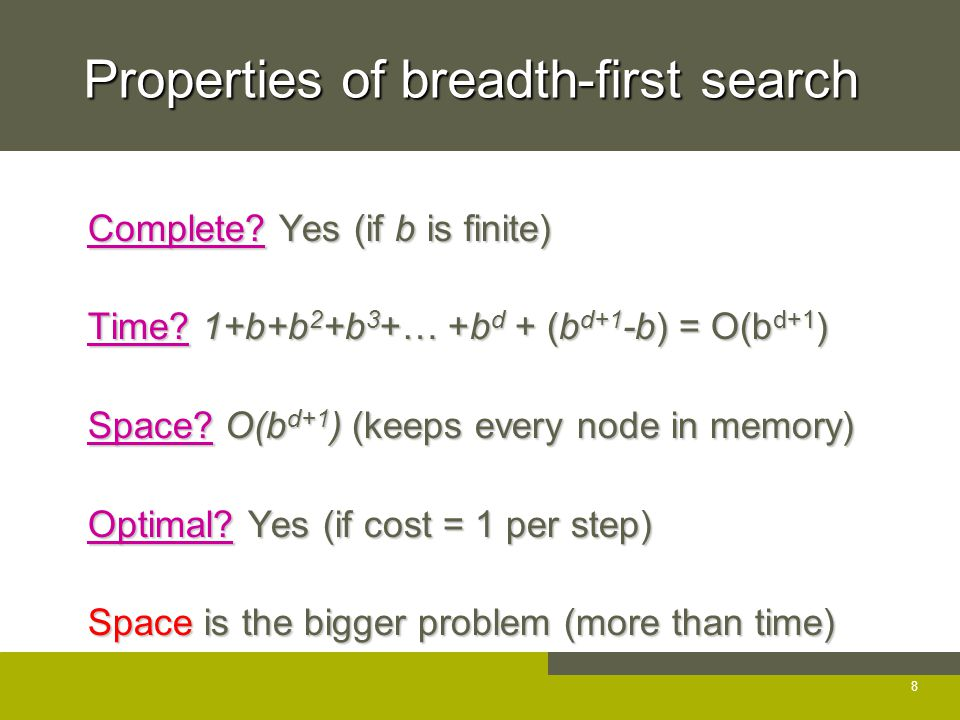 Properties of breadth-first search Complete. Yes (if b is finite) Complete.