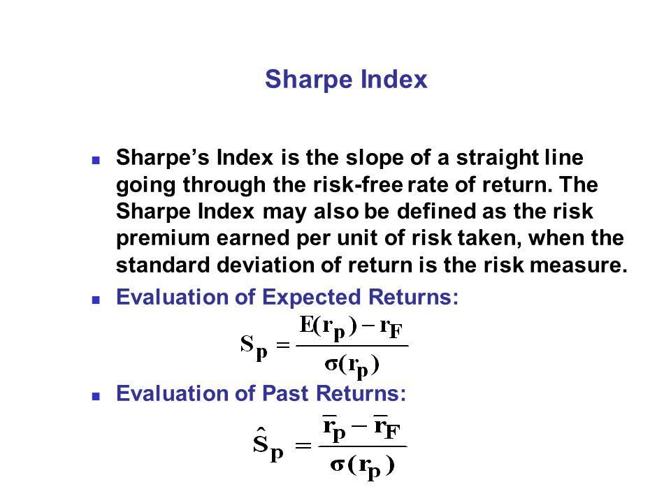 Sharpe Index Sharpe's Index is the slope of a straight line going through the risk-free rate of return.