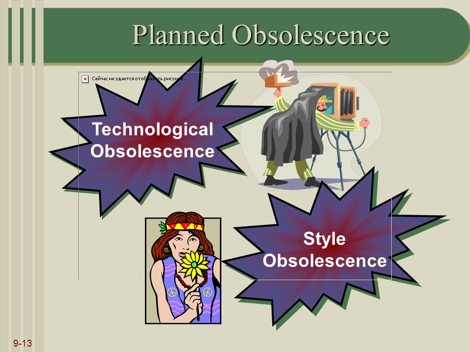 9-13 Planned Obsolescence Technological Obsolescence Technological Obsolescence Style Obsolescence Style Obsolescence
