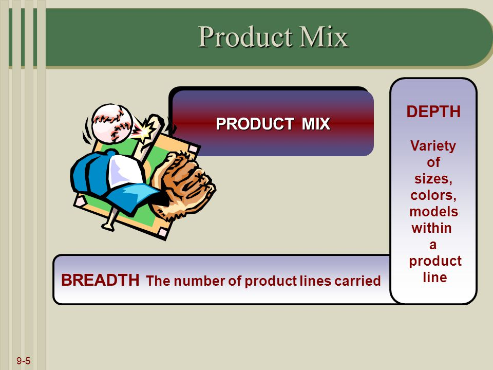 9-5 BREADTH The number of product lines carried Product Mix DEPTH Variety of sizes, colors, models within a product line PRODUCT MIX