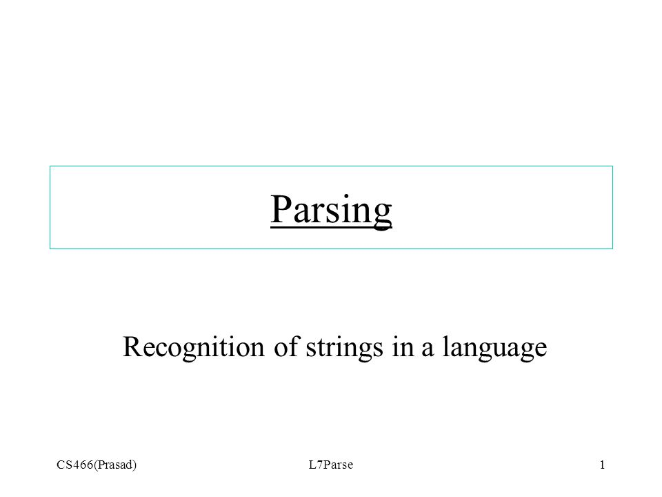 CS466(Prasad)L7Parse1 Parsing Recognition of strings in a language