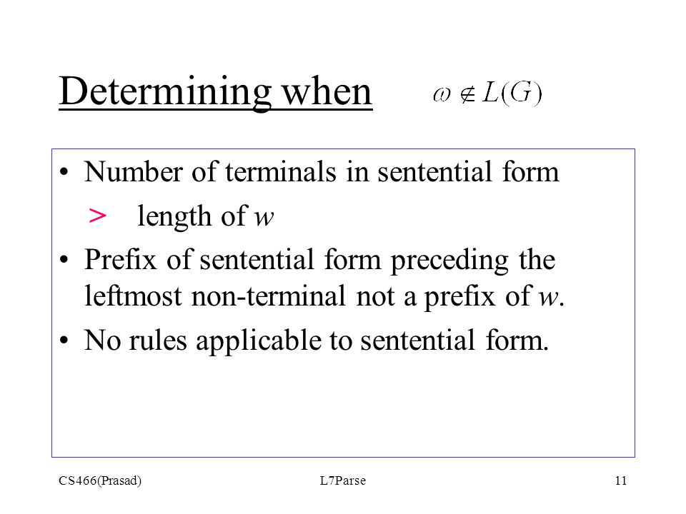 CS466(Prasad)L7Parse11 Determining when Number of terminals in sentential form > length of w Prefix of sentential form preceding the leftmost non-term
