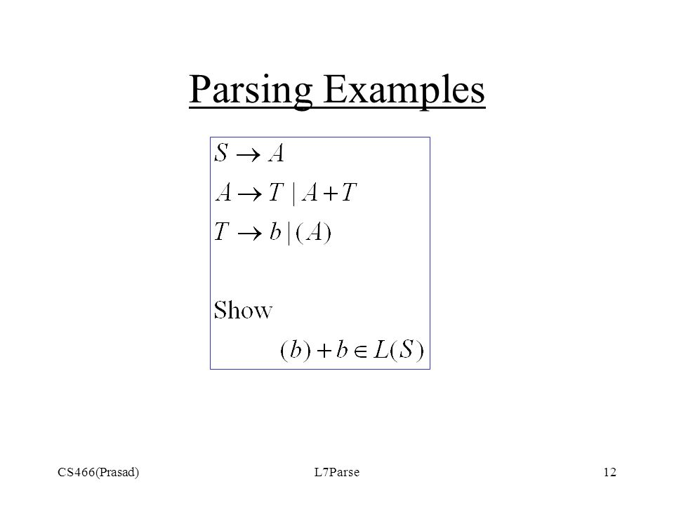CS466(Prasad)L7Parse12 Parsing Examples