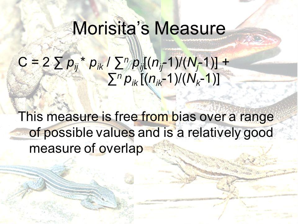 Morisita's Measure C = 2 ∑ p ij * p ik / ∑ n p ij [(n ij -1)/(N j -1)] + ∑ n p ik [(n ik -1)/(N k -1)] This measure is free from bias over a range of