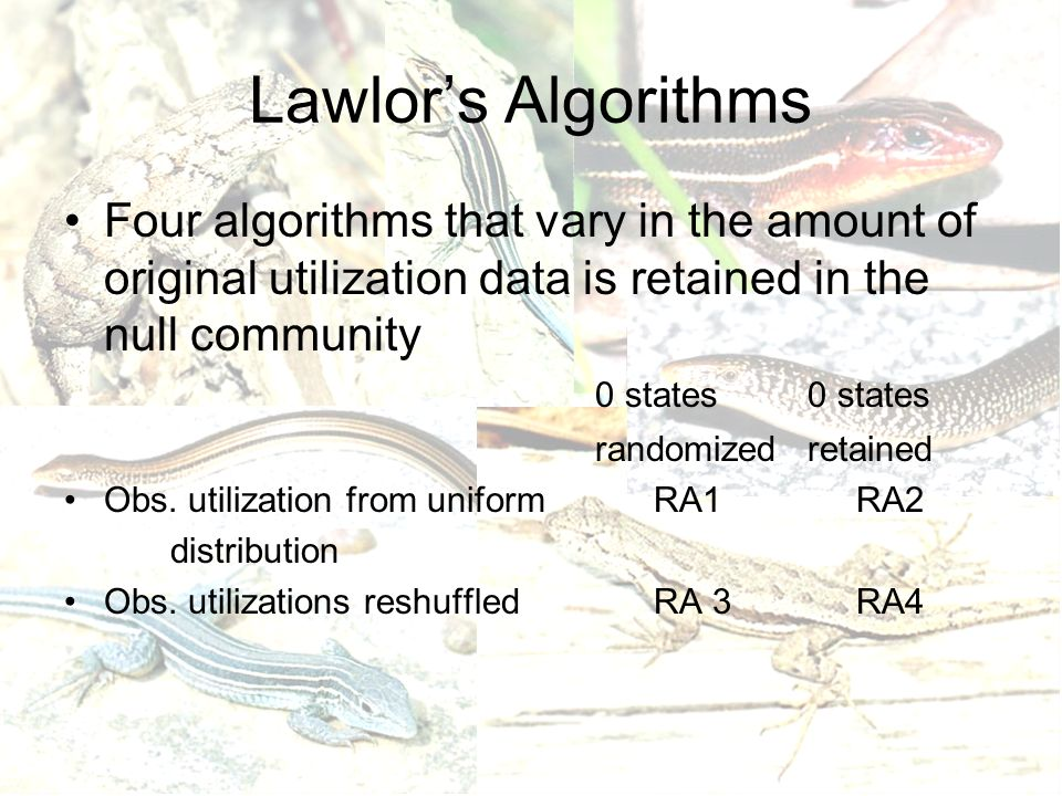 Lawlor's Algorithms Four algorithms that vary in the amount of original utilization data is retained in the null community 0 states0 states randomizedretained Obs.