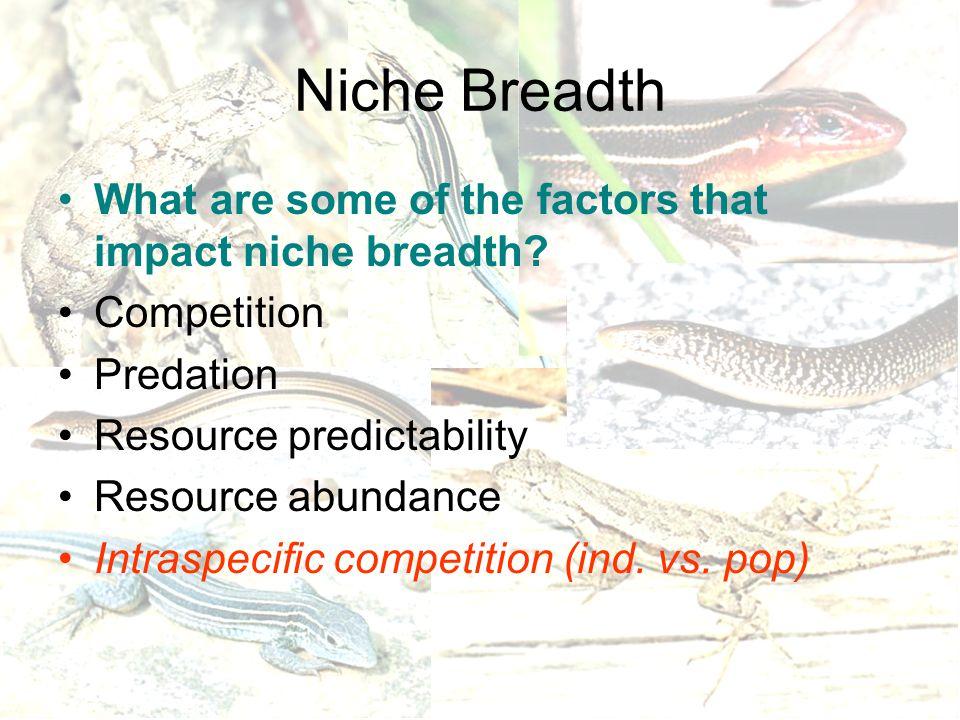 Niche Breadth What are some of the factors that impact niche breadth? Competition Predation Resource predictability Resource abundance Intraspecific c