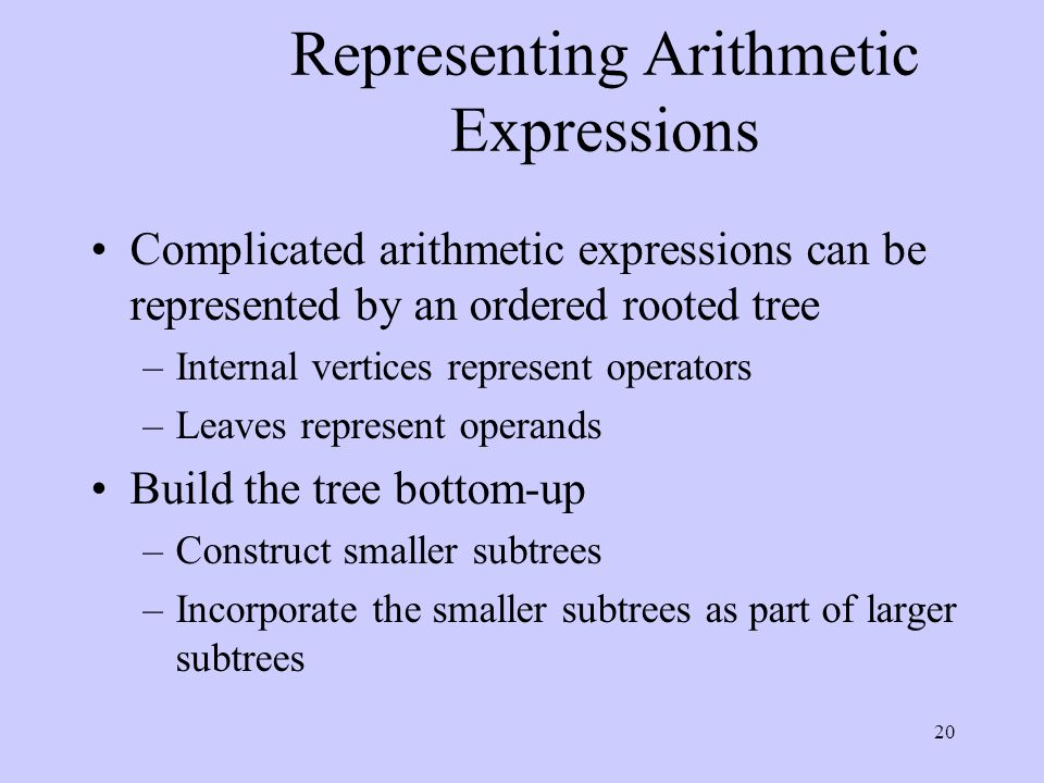 20 Representing Arithmetic Expressions Complicated arithmetic expressions can be represented by an ordered rooted tree –Internal vertices represent operators –Leaves represent operands Build the tree bottom-up –Construct smaller subtrees –Incorporate the smaller subtrees as part of larger subtrees