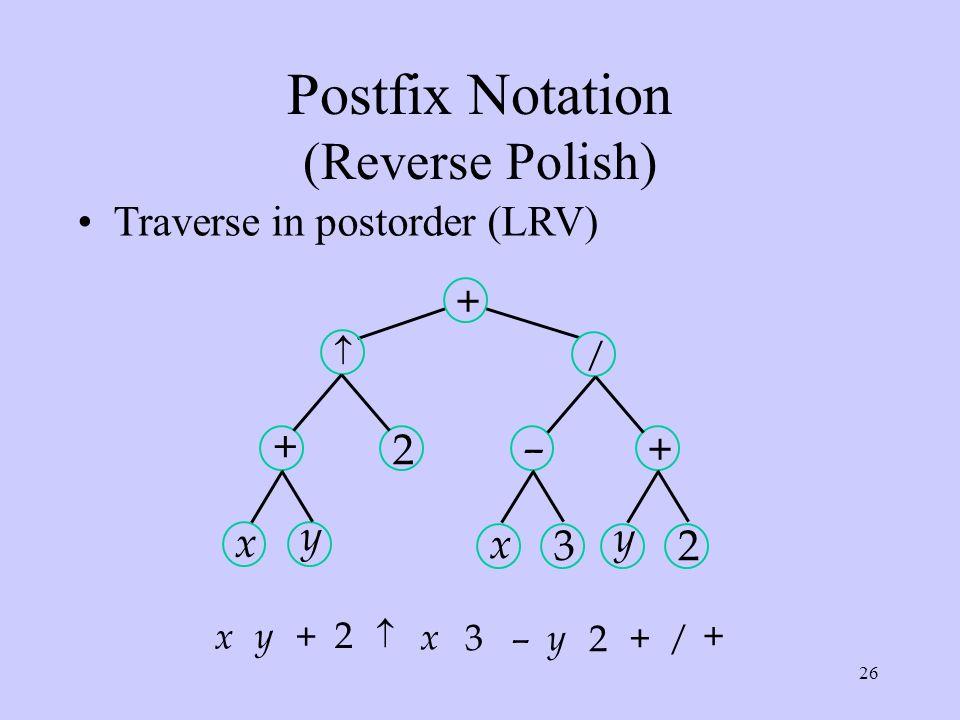26 Postfix Notation (Reverse Polish) Traverse in postorder (LRV) x + y  2 + x – 3 / y + 2 +  – + / + 2 x y x 3 y 2