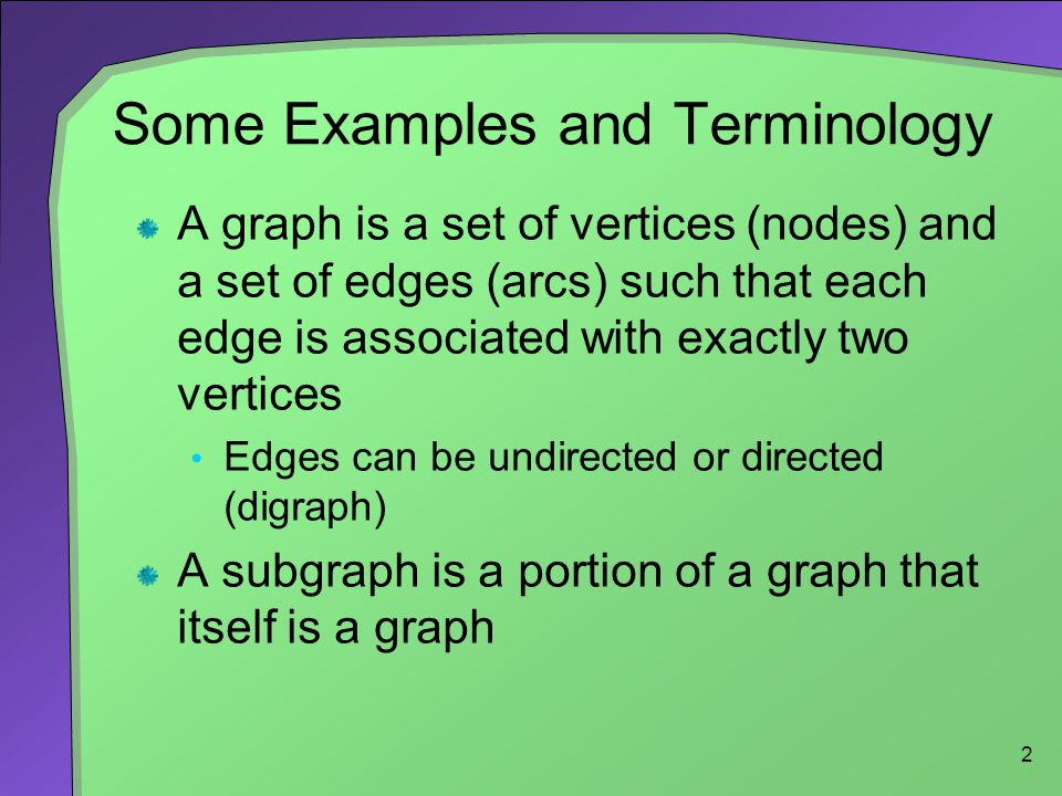 2 Some Examples and Terminology A graph is a set of vertices (nodes) and a set of edges (arcs) such that each edge is associated with exactly two vertices Edges can be undirected or directed (digraph) A subgraph is a portion of a graph that itself is a graph