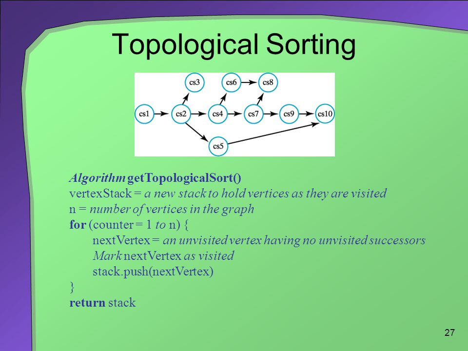 27 Topological Sorting Algorithm getTopologicalSort() vertexStack = a new stack to hold vertices as they are visited n = number of vertices in the graph for (counter = 1 to n) { nextVertex = an unvisited vertex having no unvisited successors Mark nextVertex as visited stack.push(nextVertex) } return stack